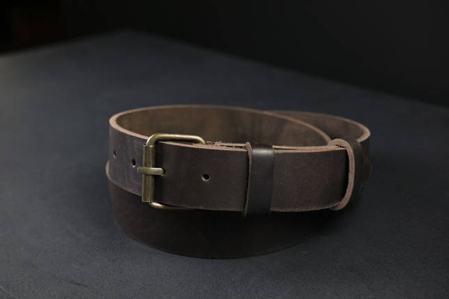 Шкіряний пояс під джинси колір кави з пряжкою №1, фото 2