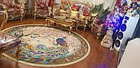 Круглый яркий ковер 150х150 см с изображением павлина в восточном стиле производства Ирана