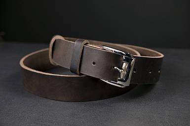 Шкіряний пояс під джинси колір кави з пряжкою №4