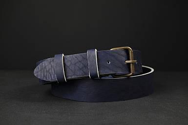 Кожаный пояс под джинсы цвет синий с пряжкой №1