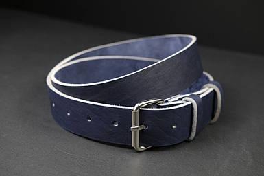 Шкіряний пояс під джинси синій колір з пряжкою №2