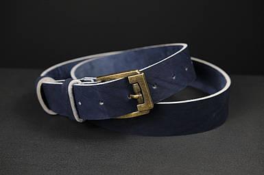 Шкіряний пояс під джинси синій колір з пряжкою №3