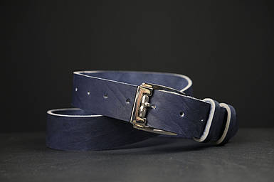 Кожаный пояс под джинсы цвет синий с пряжкой №4