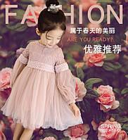 Воздушное платье для девочки. 100-140. Пудра