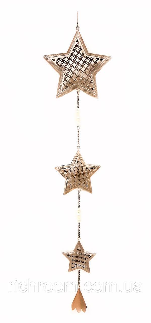 F1-00558, Новогодняя декоративная подвеска Звезда, Melinera, серебристый