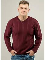 Мужской шерстяной теплый свитер. Цвет-бордо. ( L  XL)