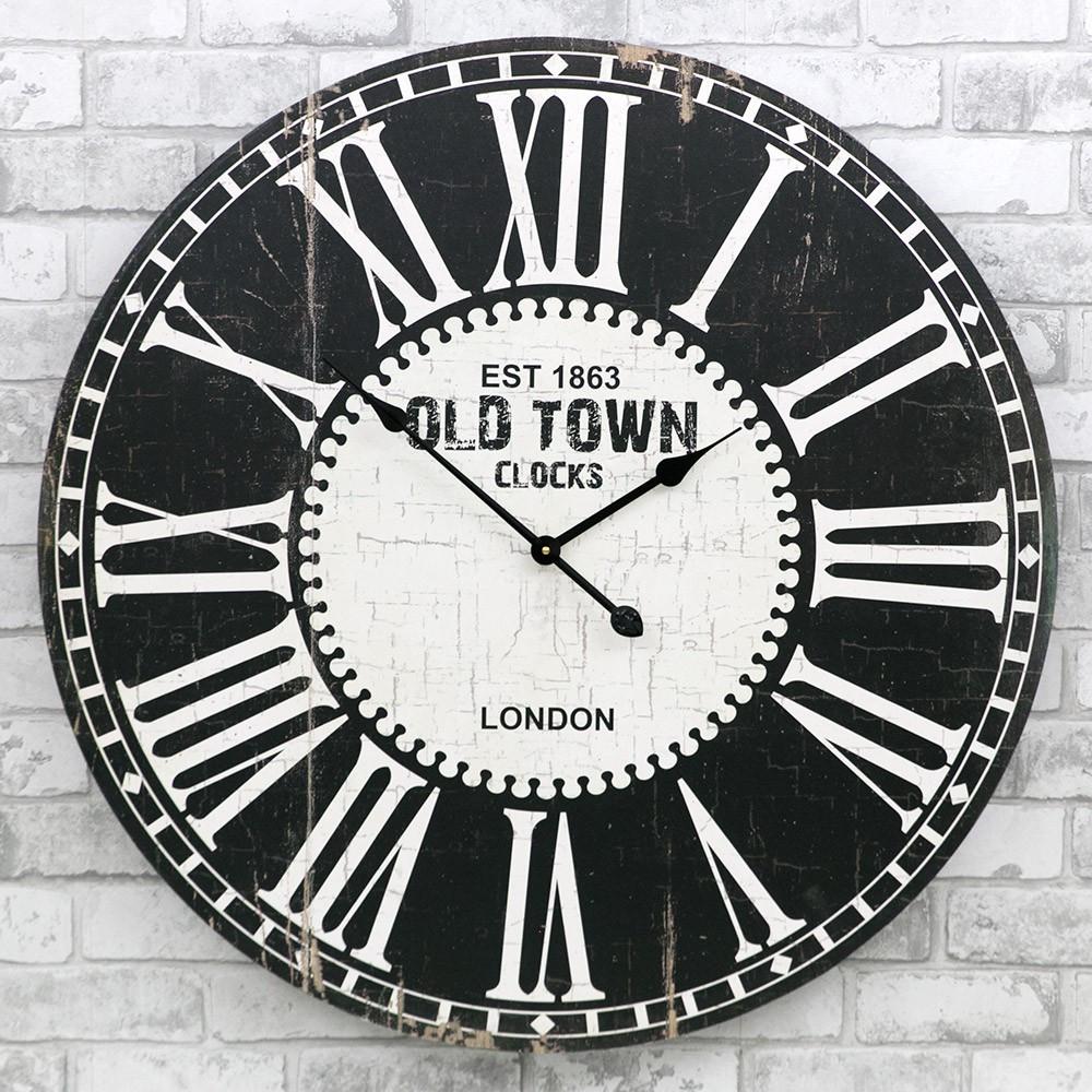 Деревянные настенные часы а ретро стиле 80 см Old Town