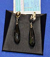 Божественніі срібні  сережки  з SWAROVSKI та золотими напайками