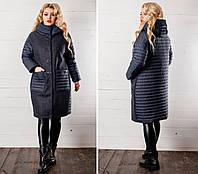 Стильное женское пальто батал