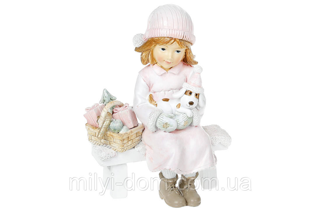 Девочка с собачкой, розовый цвет, статуэтка декоративная, 14 см