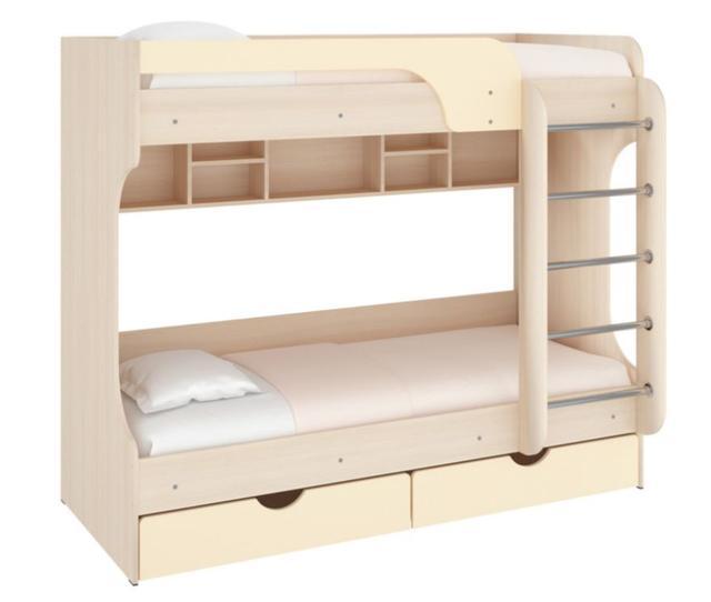 Кровать двухъярусная Юнга ДСП дуб молочный +МДФ ваниль