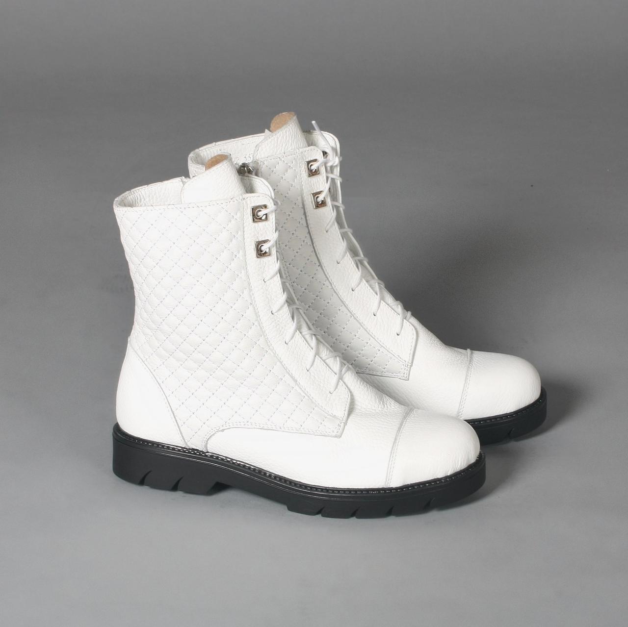 Ботинки женские белые кожаные на шнуровке, без каблука. Деми, зима. Цвет на выбор.