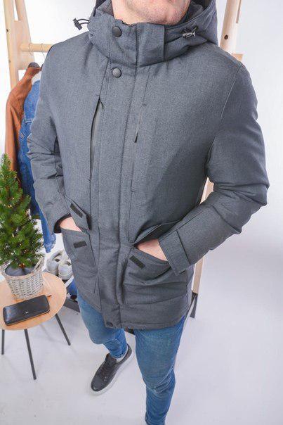 Зимняя мужская серая куртка до -20