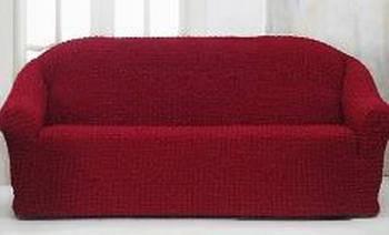Накидка на 3-х местный диван от 170 до 230 см бордовая