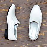 Мужские классические кожаные туфли, цвет белый, фото 2