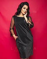 Женское,вечернее платье большого размера,ткань трикотаж люрекс, р-ры 50,52,54,56 (916) черный
