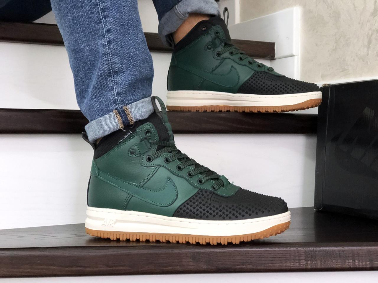 Мужские кроссовки Nike Lunar Force 1 Duckboot (зелено-черные)