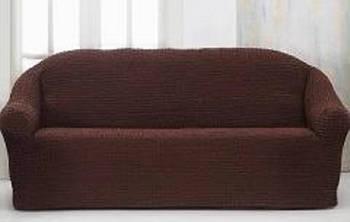 Накидка на 3-х местный диван от 170 до 230 см тёмно-коричневая