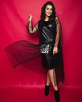 Женское,вечернее платье большого размера,ткань эко кожа стрейч, сетка, иск.мех, р-ры 50,52,54,56 (921) черный