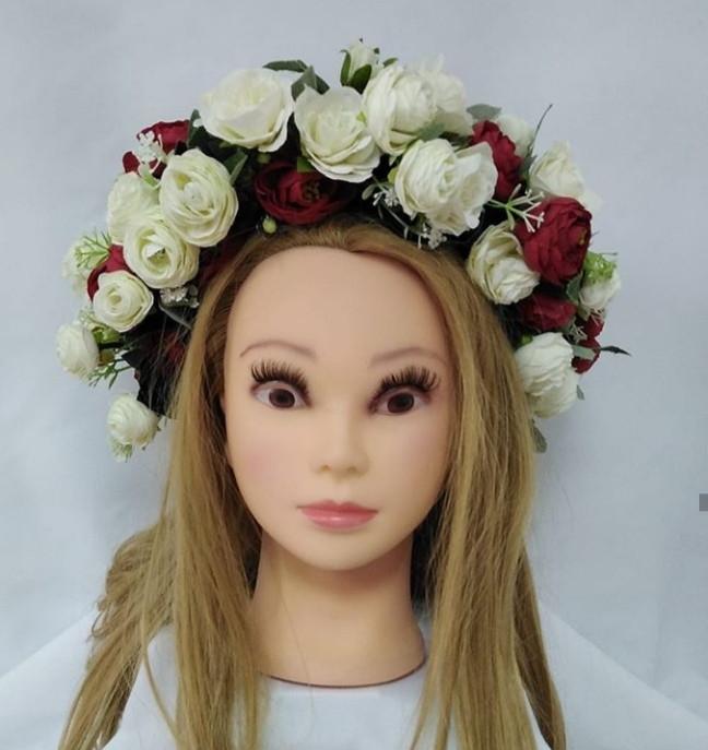 Вінок український Волинські візерунки з дрібних троянд