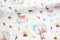 Ткань сатин Олени с грибочками и листочками, фото 1