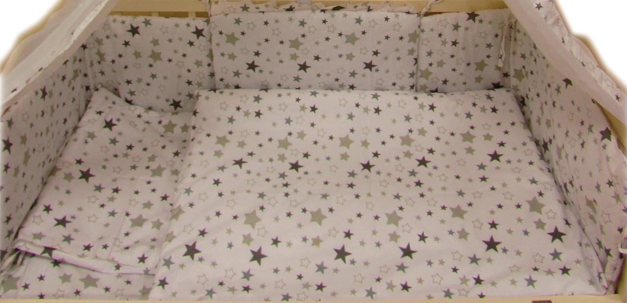 """Акция! Постельный комплект в кроватку 3 ед. """"Белый с серыми звездами"""""""