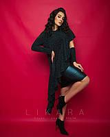 Женское,вечернее платье большого размера,ткань кожа стрейч, трикотаж люрекс, р-ры 50,52,54,56 (915) зеленый