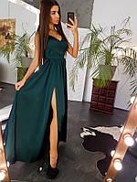 Шелковое платье в пол на бретелях