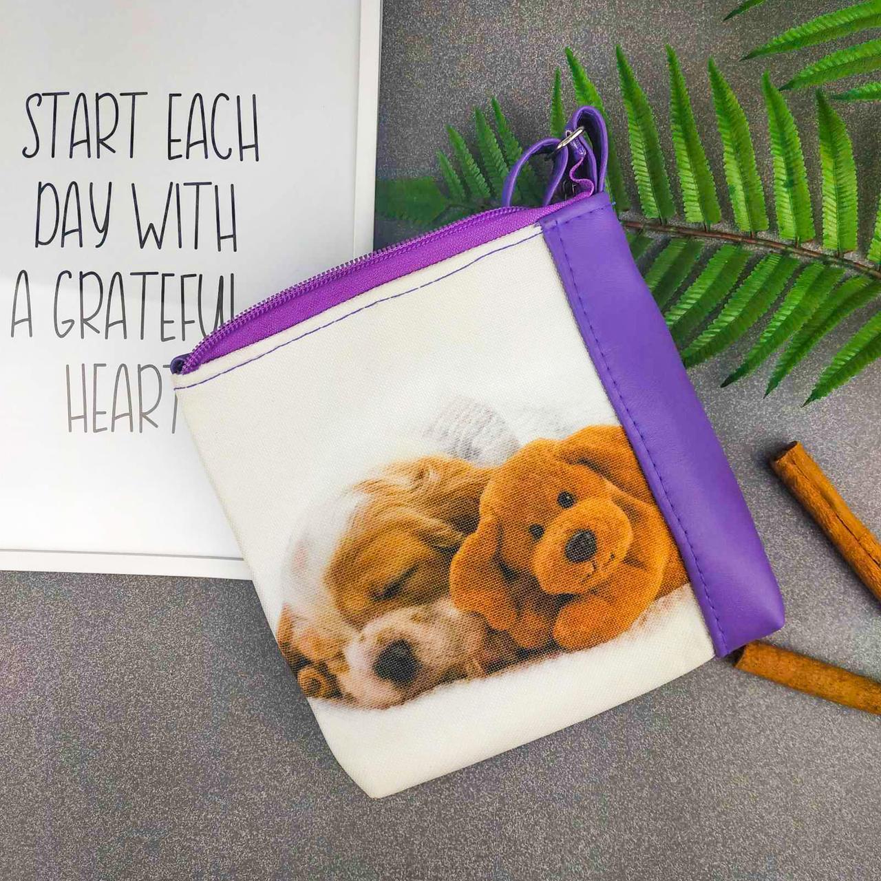 Фиолетовая сумка для девочки Mini Miss с принтом Собачка спит