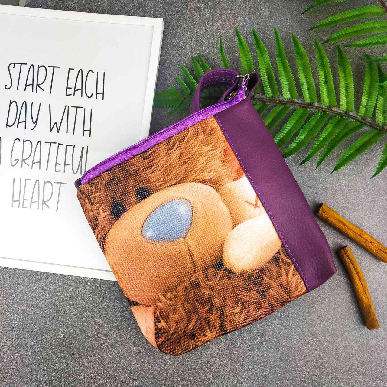 Фиолетовая сумка для девочки Mini Miss Плюшевый мишка