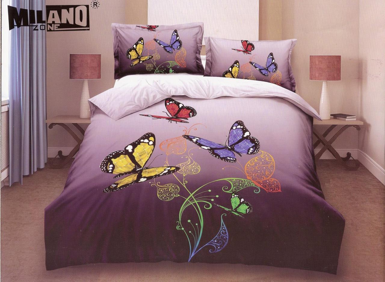 3D Постельное белье Milano Zone  рисунок цветные бабочки полуторка