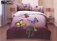 3D Постельное белье Milano Zone  рисунок цветные бабочки полуторка, фото 1