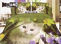 3D Постельное белье Milano Zone  рисунок котенок с орхидеей полуторка, фото 1