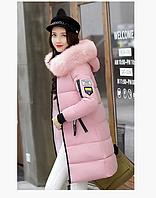 Женская куртка пуховик зимняя с капюшоном манжетами декоративный съёмный мех принт, фото 1