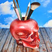 Гипсовый череп декоративный с отверстием.Настольный органайзер для кистей и карандашей