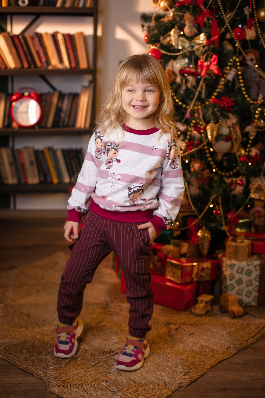 Модные карго-брюки для девочки Бордо в полоску