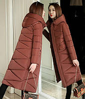 Женское стеганое зимнее пальто пуховик с капюшоном