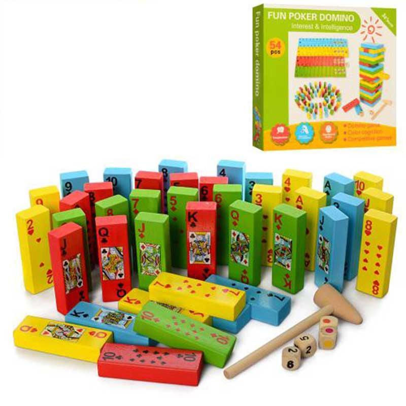 Деревянная игрушка Башня MD1539 цветная, 54 дет, в коробке