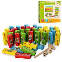 Деревянная игрушка Башня MD1539 цветная, 54 дет, в коробке                                          , фото 1