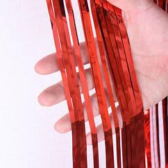 Шторка завісу з фольги для фотозоны червона 2 х 1 метр