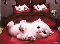 3D Постельное белье Milano Zone  рисунок белый котенок полуторка, фото 1