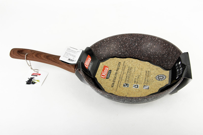 Сковорода с гранитным покрытием и деревянной ручкой Olina, 20 см.