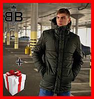 Куртка зимняя мужская Everest Intruder с капюшоном, пуховик теплый, цвет хаки