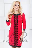 Женское нарядное платье с отделкой из экокожи Lipar Красное 46