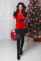 Карнавальный костюм взрослый  подружка санты с  черным мехом, фото 1