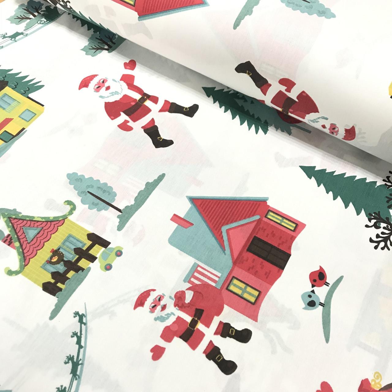 Хлопковая ткань (ТУРЦИЯ шир. 2,4 м) Санта Клаус с елками и домами на белом