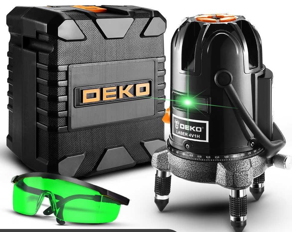 Лазерный уровень DEKO (DKLL-502)Зеленый луч 5 линий 6 точек + КЕЙС