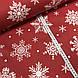 Ткань поплин снежинки белые редкие с горошком на красном (ТУРЦИЯ шир. 2,4 м), фото 2