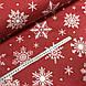 Ткань поплин снежинки белые редкие с горошком на красном (ТУРЦИЯ шир. 2,4 м), фото 3
