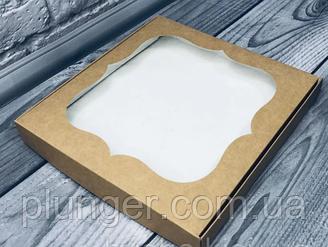 Коробка для печива, пряників, з вікном, 23 см х 23 см х 3 см, Крафт мілований картон